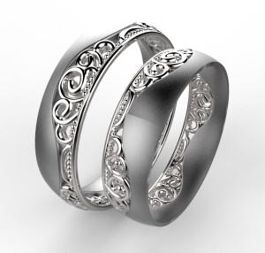 00004 snubní prsten Baroko vlnka bílé