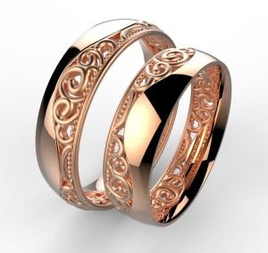 00004 snubní prsten Baroko vlnka růžové